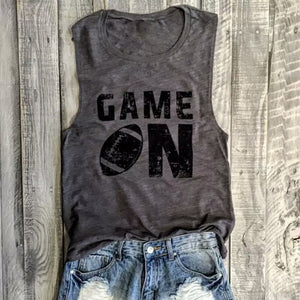 Game on sleeveless t-shirt