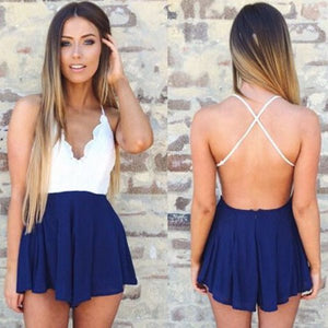 lace backless romper color options