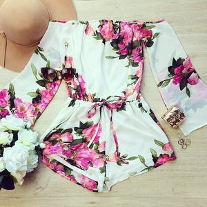 Off Shoulder Pink Floral Romper