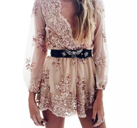 gold plunge sequin romper