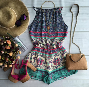 high neck boho romper