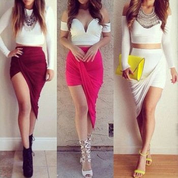 asymmetric fitted skirt