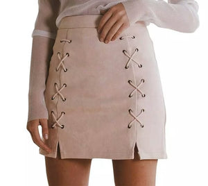 monica suede lace-up skirt beige or black