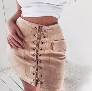 suede lace-up skirt color options
