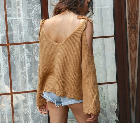 cinnamon cut-out sweater