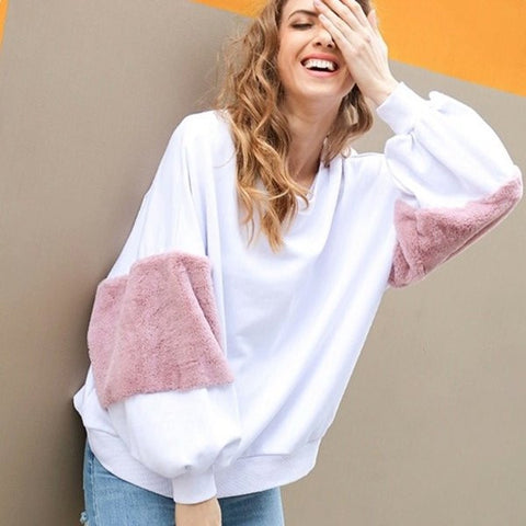 oversized white & pink sweater