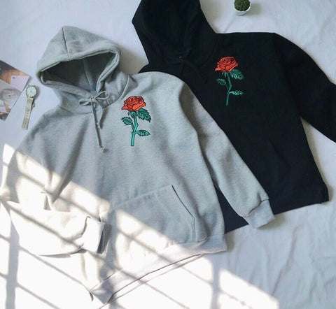 Sweet Roses embroidered hoodie color options