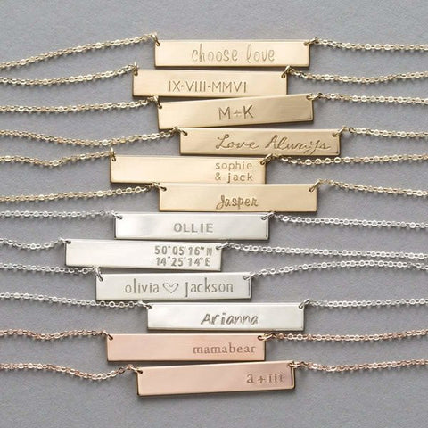 Bar custom name necklace