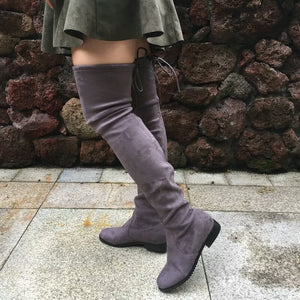 Suede flat over knee boots 6 colors