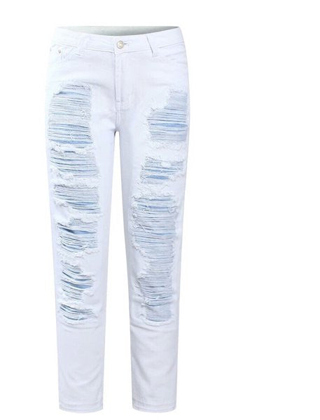 Destroyed White Denim Jeans