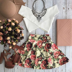 white rose 2 piece set