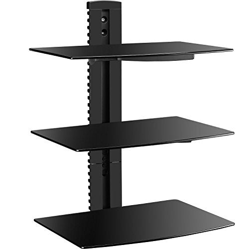 Superb Wali Floating Wall Mounted Shelf With Strengthened Tempered Glasses For Dvd Players Cable Boxes Games Consoles Tv Accessories Cs303 3 Shelf Best Image Libraries Sapebelowcountryjoecom