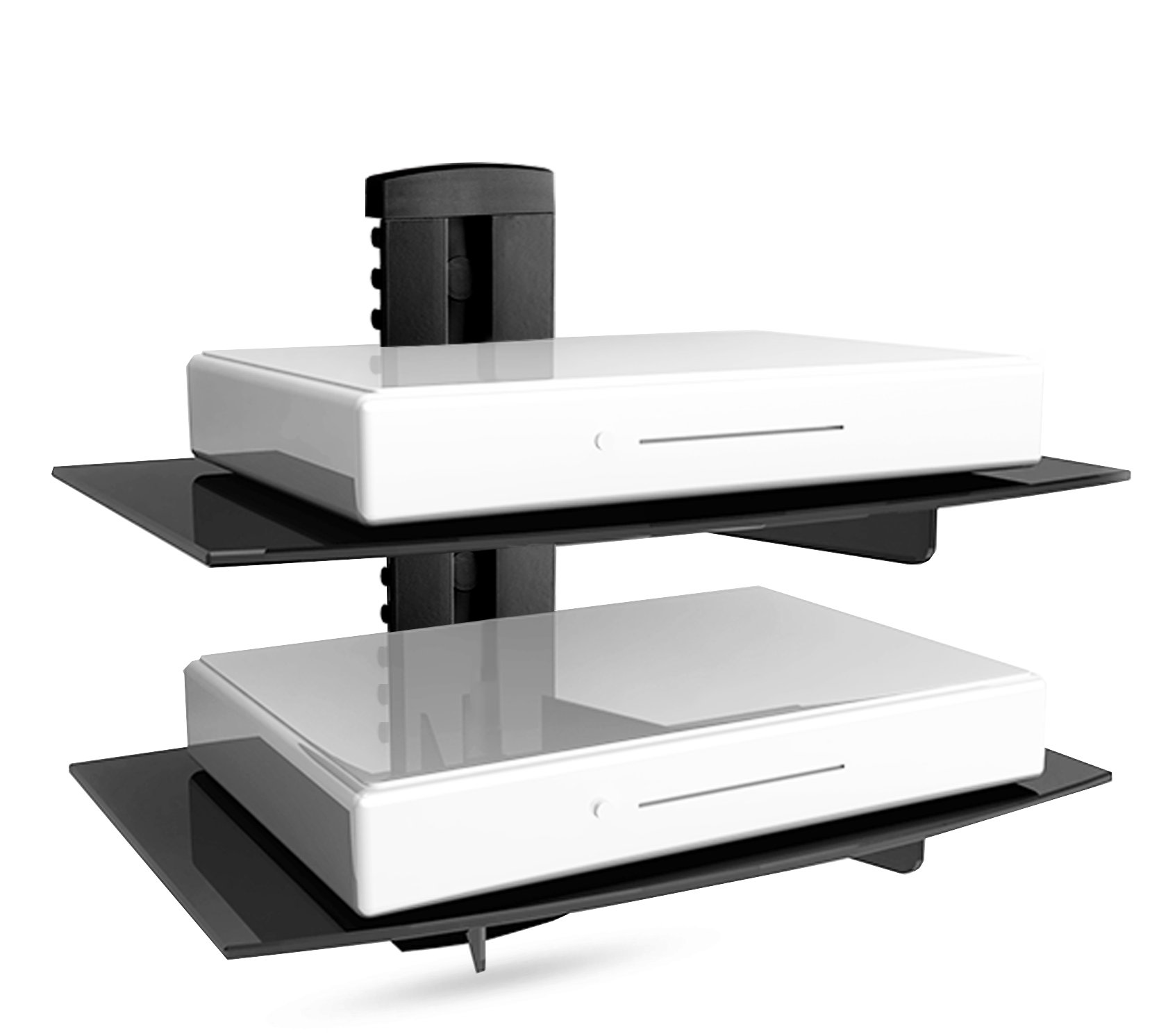 floating shelf with strengthened tempered glass for cable. Black Bedroom Furniture Sets. Home Design Ideas