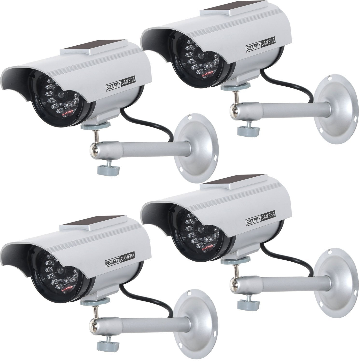Silver Indoor Outdoor Fake Dummy Security Surveillance Camera with 30 Blinking LED Lights /& Warning Security Alert Sticker