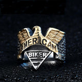 American Biker Eagle Ring ring The Mighty Skull ™ 7 part gold color