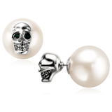 2-Way Pearl Skull Stud Earrings Earrings The Mighty Skull ™ White gold