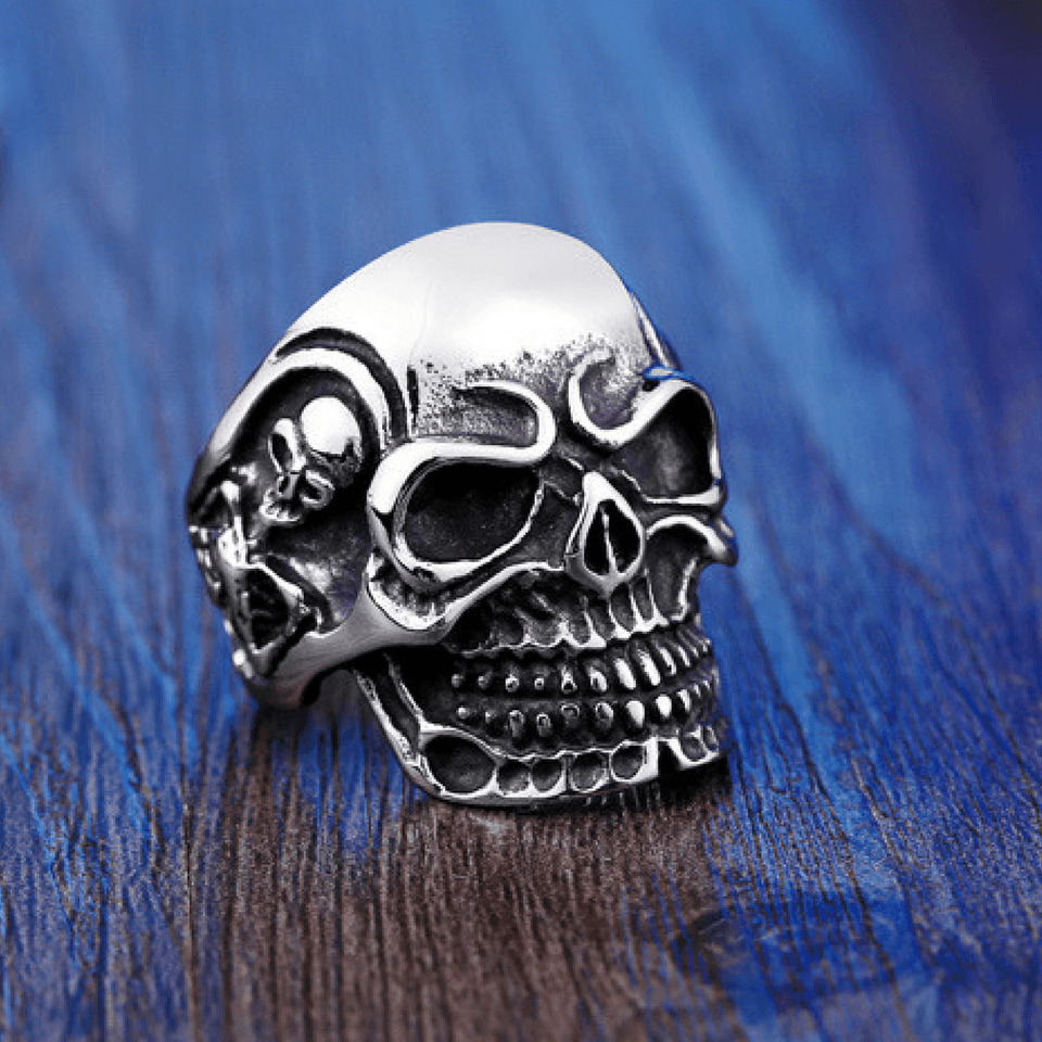 Triple Skull Ring ring The Mighty Skull ™ 8 steel color