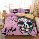 Pink Boho Skull Bedding Set bedding set The Mighty Skull ™ US twin