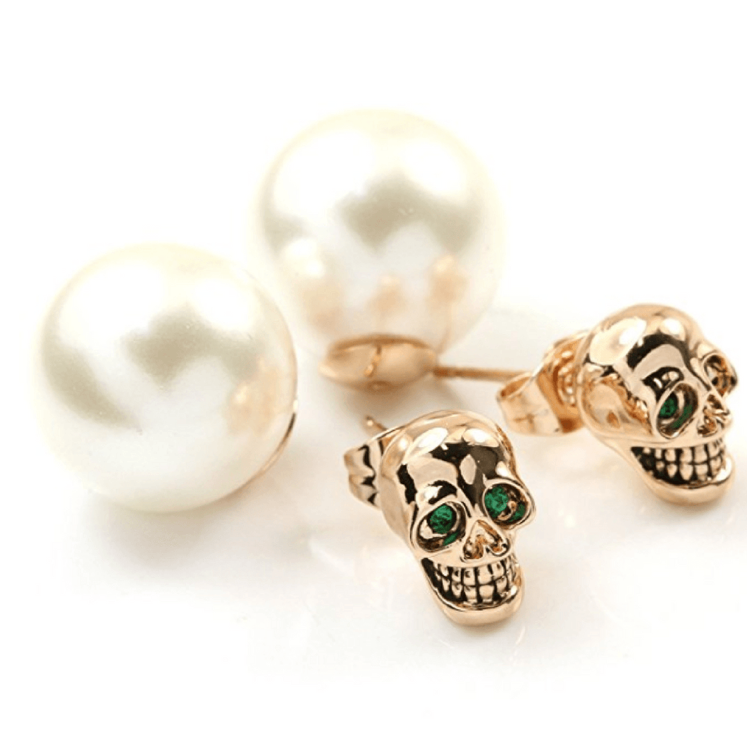 2-Way Pearl Skull Stud Earrings Earrings The Mighty Skull ™ Rose gold
