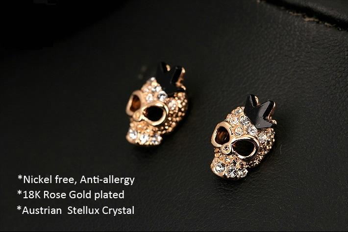 Punk Stud Earrings Earrings The Mighty Skull ™