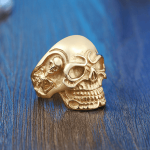 Triple Skull Ring ring The Mighty Skull ™ 7 full gold color