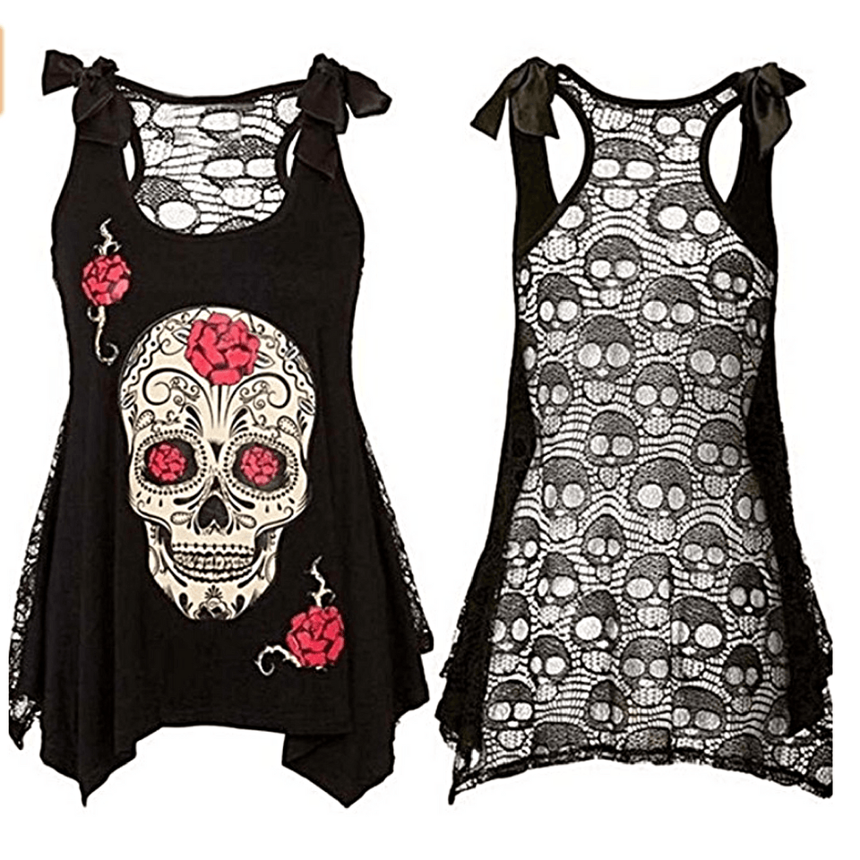 Punk Skull Lace Top Dress The Mighty Skull ™ Red Rose S