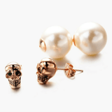 2-Way Pearl Skull Stud Earrings Earrings The Mighty Skull ™