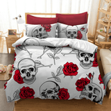 White Rose Skull Bedding Set bedding set The Mighty Skull ™ US Full
