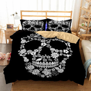 Black Flower Bedding Set bedding set The Mighty Skull ™ Twin