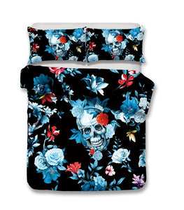 Black Icy Floral Skull Bedding Set bedding set The Mighty Skull ™