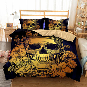 Golden Floral Skull Bedding bedding set The Mighty Skull ™ Twin