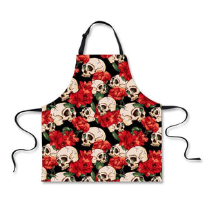 Adjustable Skull Apron for Men & Women Apron The Mighty Skull ™ Floral Skull one size