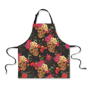 Adjustable Skull Apron for Men & Women Apron The Mighty Skull ™ Pink Zebra one size