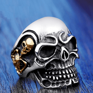 Triple Skull Ring ring The Mighty Skull ™ 7 part gold color