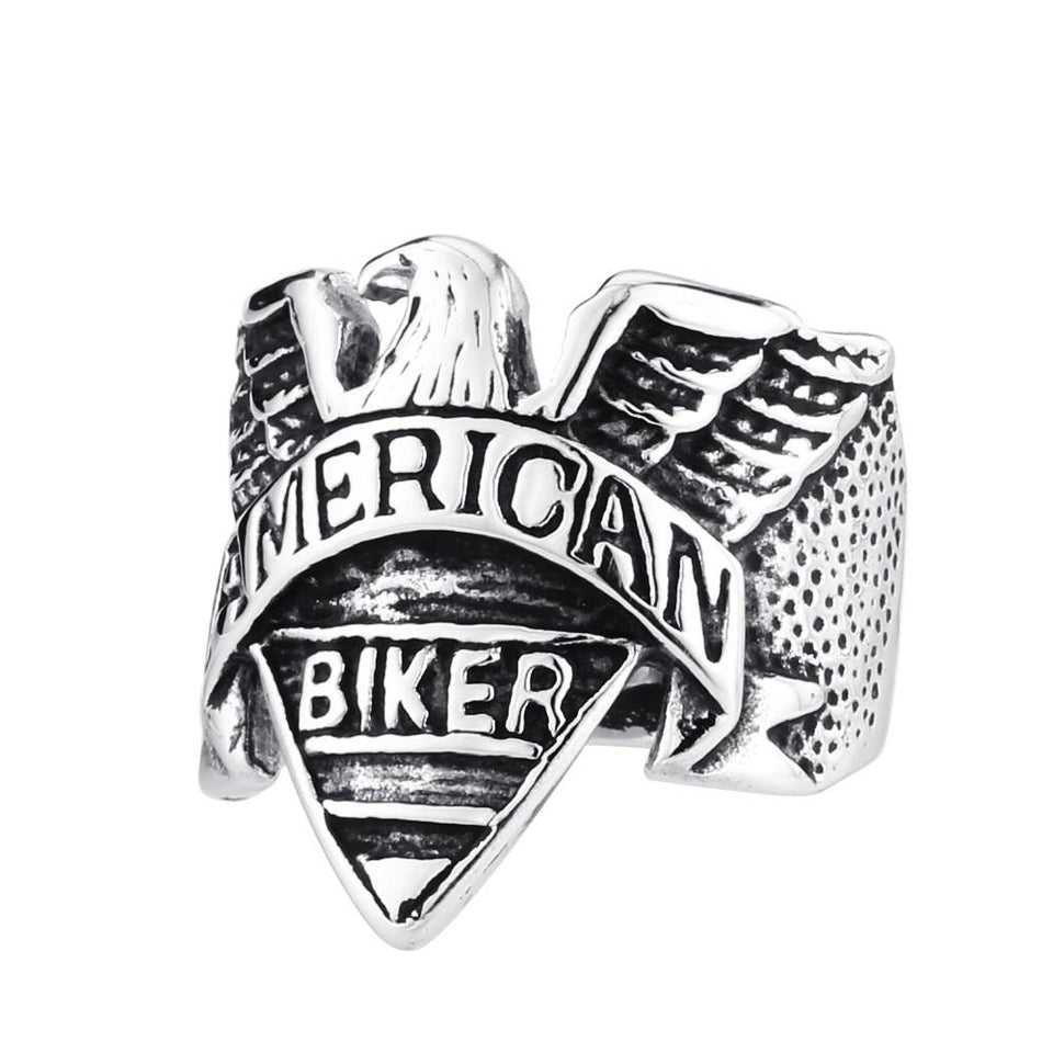 American Biker Eagle Ring ring The Mighty Skull ™ 7 steel color