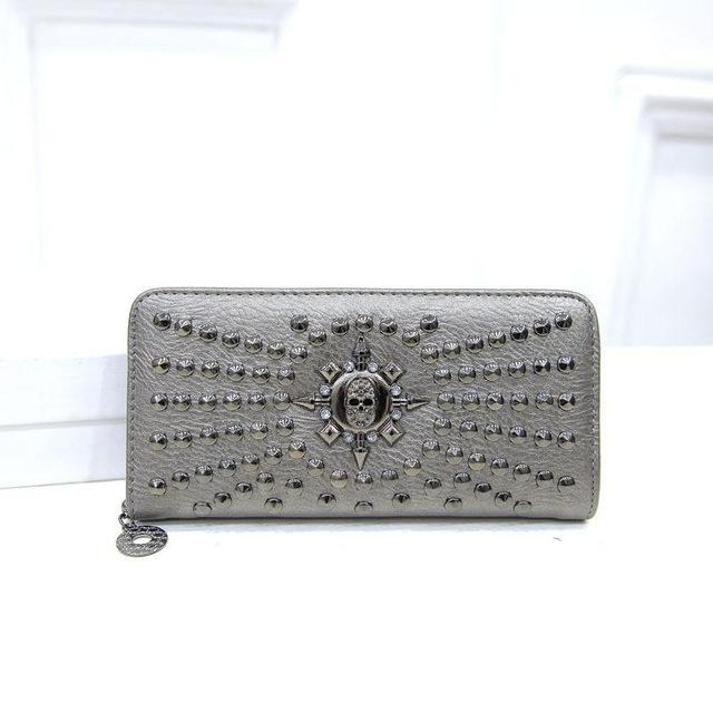 Goth Wallet wallet The Mighty Skull ™ Silver