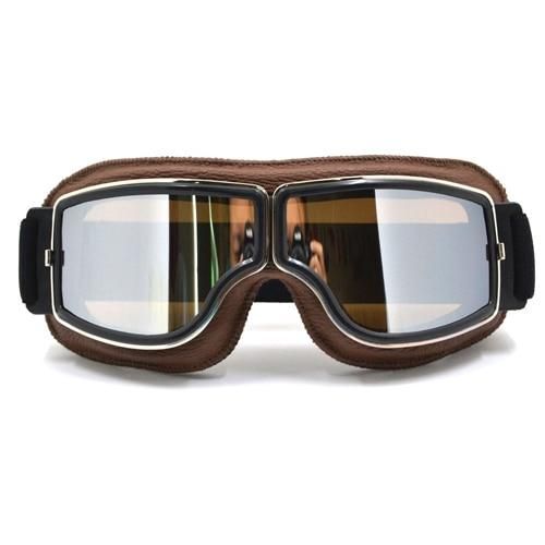 TMS Leather Retro Goggles The Mighty Skull ™ Model 7