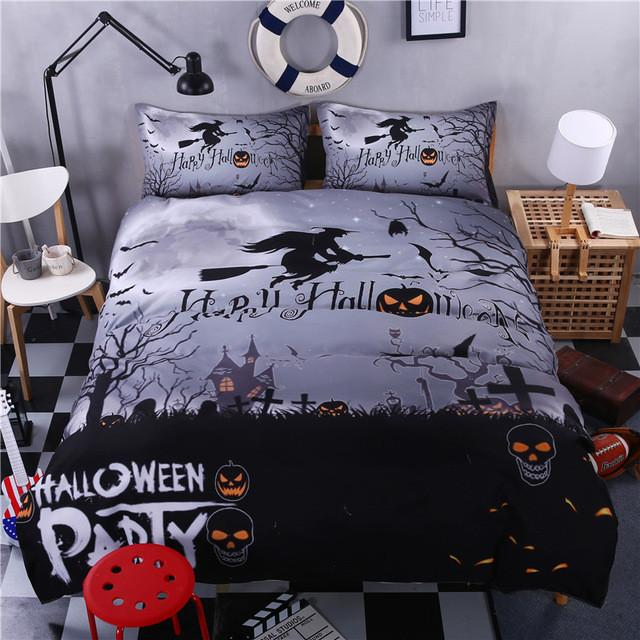 Halloween Bedding Set bedding set The Mighty Skull ™ grey sweeper Full