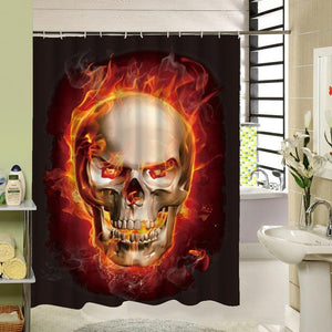 Fire Skull Shower Curtain curtain The Mighty Skull ™ 150x180