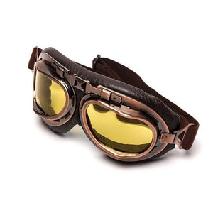 Vintage Motorcycle Flying Goggles The Mighty Skull ™ China Lens Yellow