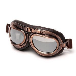 Vintage Motorcycle Flying Goggles The Mighty Skull ™ China Lens Silver