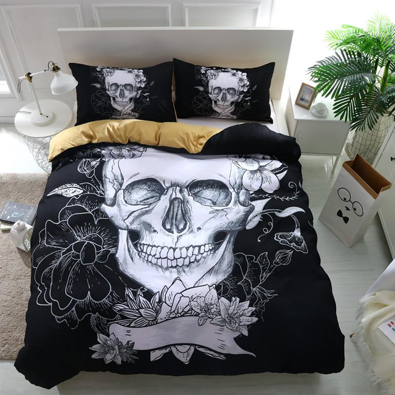 Black Flower Skull Bedding bedding set The Mighty Skull ™