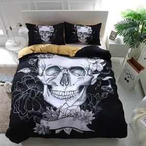 Black Flower Skull Bedding bedding set The Mighty Skull ™ Twin