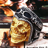 Skull Biker Ring ring The Mighty Skull ™ 7 gold colour