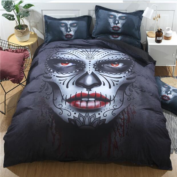 Skull Makeup Bedding Set bedding set The Mighty Skull ™ Twin 4pcs