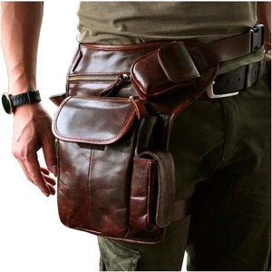 TMS Leather Crossbody Leg Bag The Mighty Skull ™ coffee