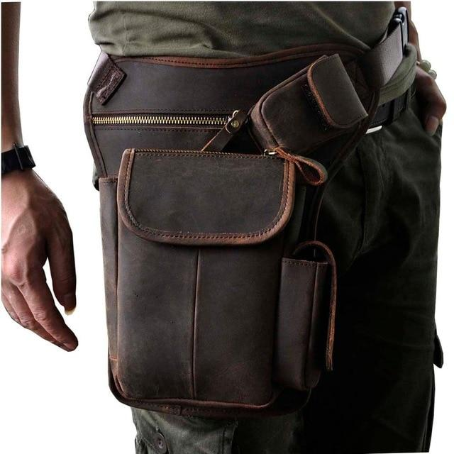 TMS Leather Crossbody Leg Bag The Mighty Skull ™ dark brown