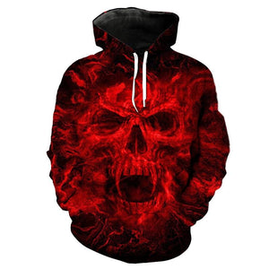 Crazy Red Flame Skull Hoodie The Mighty Skull ™