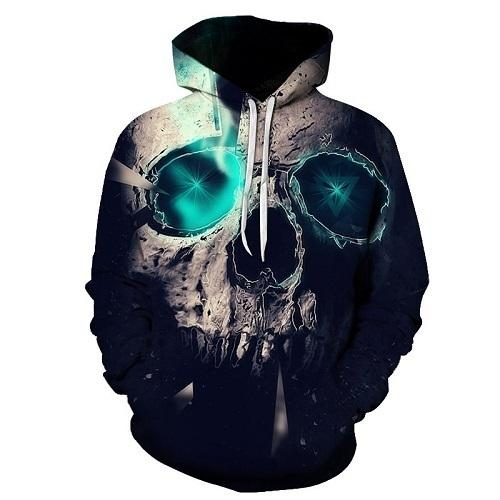 Skull Printed Pullovers Hoodies The Mighty Skull ™ Black 4XL