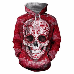 Skull Printed Pullovers Hoodies The Mighty Skull ™ Blue 4XL